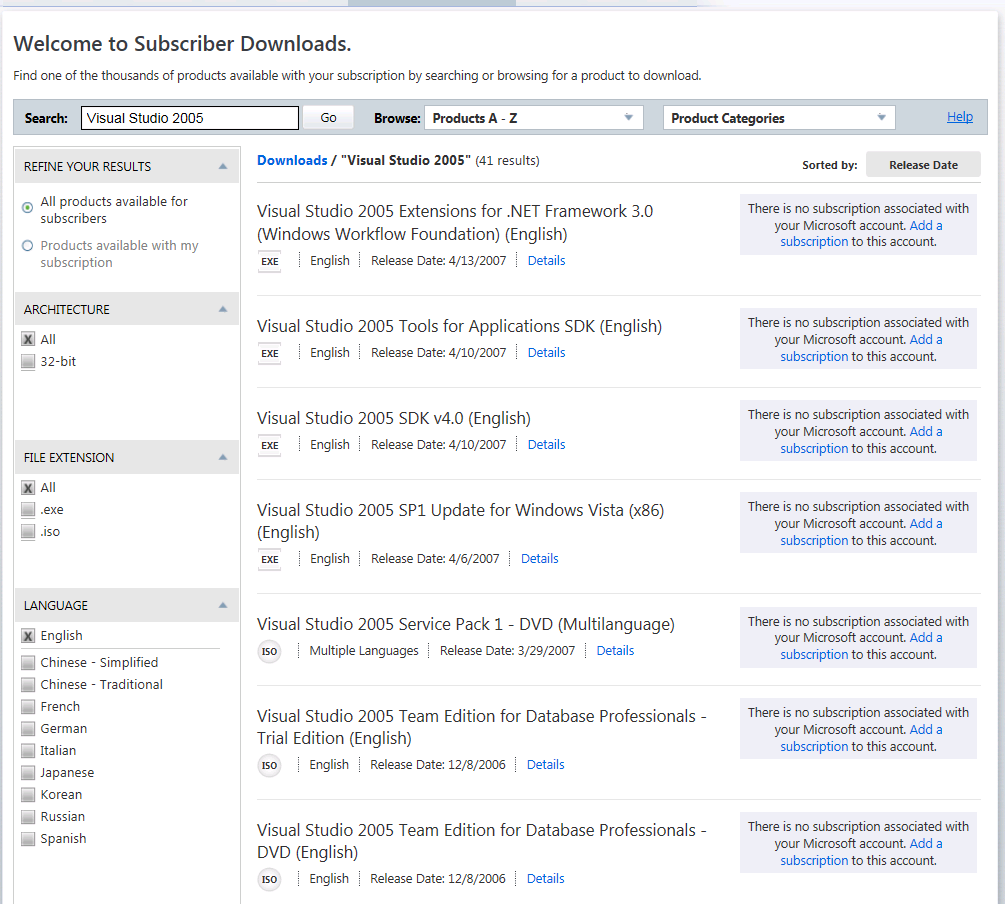 msdn subscribers download