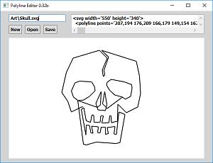 Screen shot of a program Polyline Editor 0.32b