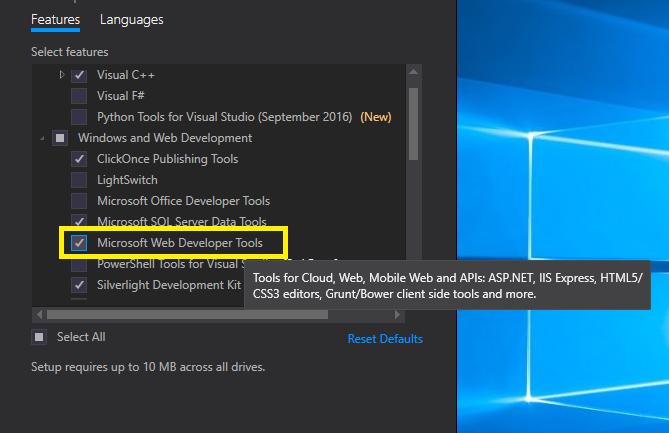 unable to install Microsoft web development tool