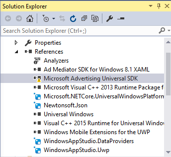 Solution Explorer Showing Warning on Microsoft Advertising Universal SDK