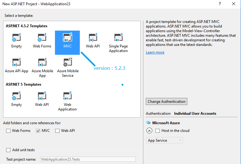 project template mvc 5 missing in Visual Studio 2015 on