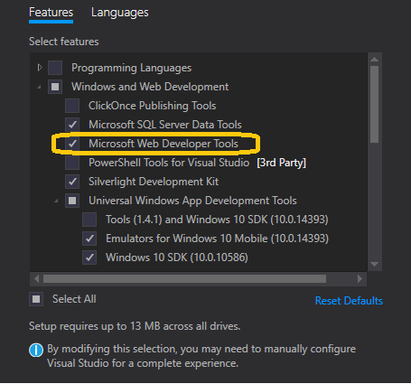 project template mvc 5 missing in Visual Studio 2015
