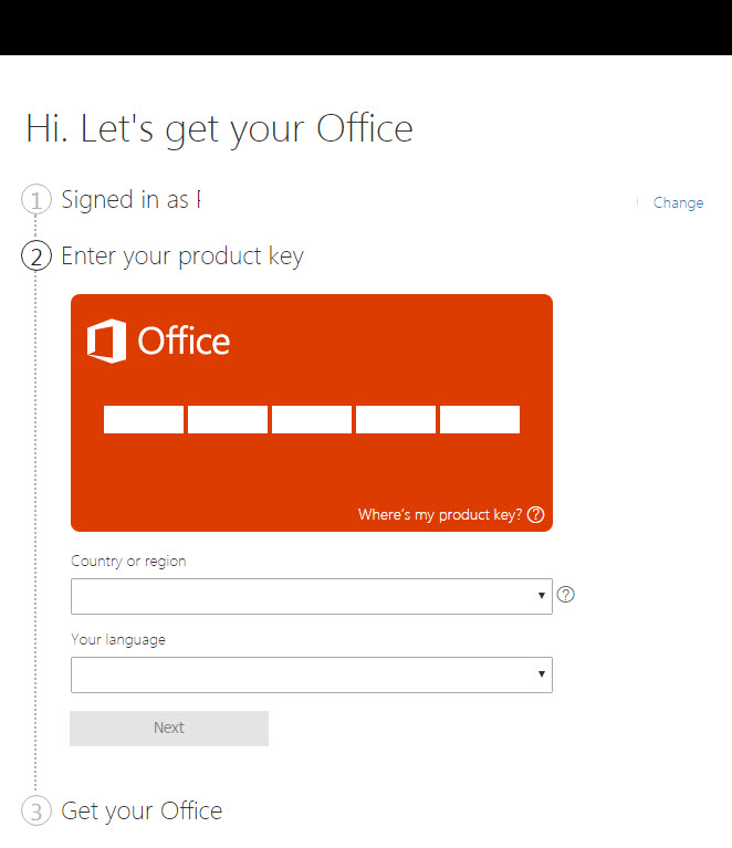 add activation key to office 2016