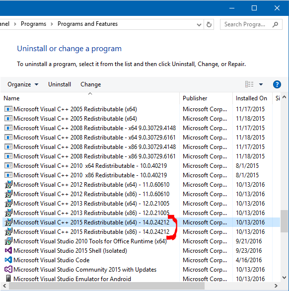 microsoft visual c++ 2015 redistributable latest version