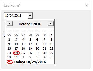 VBA Form Calendar