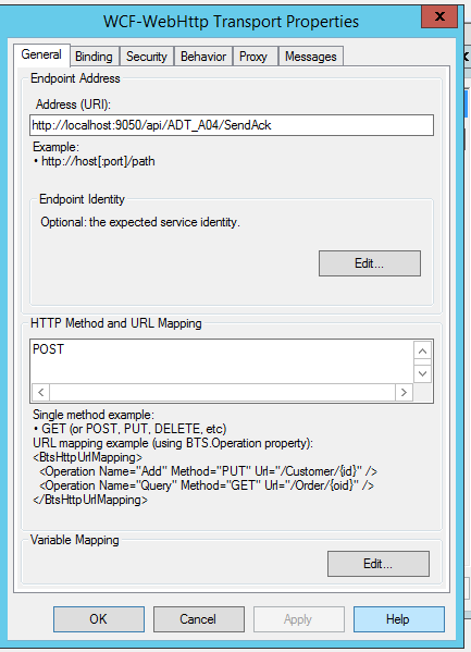 Send xml in Post body in WCF-WebHttp adaptor