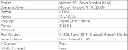 SQL Server instnace properties