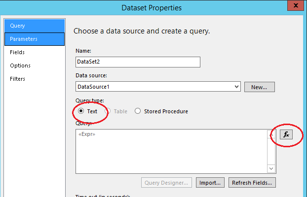Execute a Dataset based on parameter value -SSRS