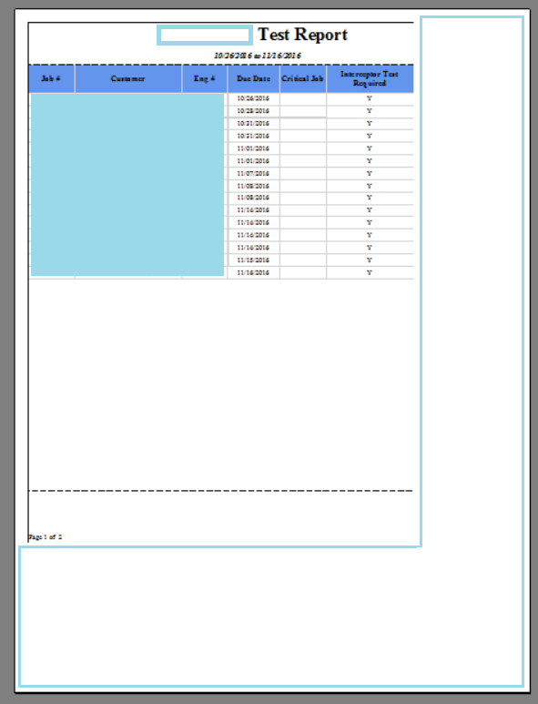 Error: Report Print Layout