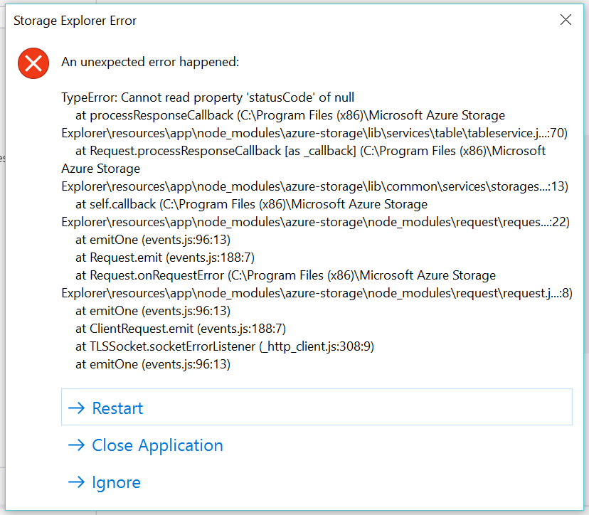 Azure Storage Explorer crashes when I try to create a new table