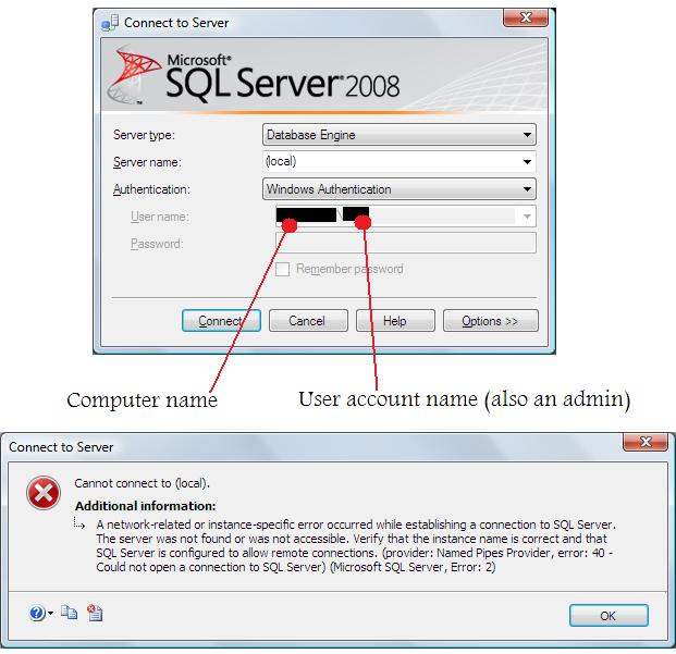 Can't connect to server in Management Studio (provider