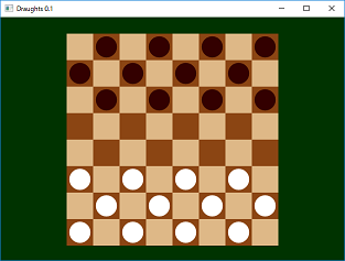 Screen shot of a program Draughts 0.1