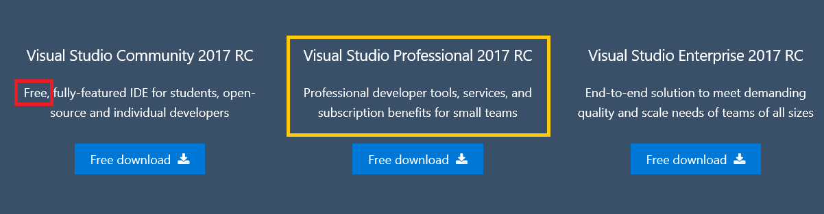 Is the Visual Studio 2017 RC Enterprise edition is a trial