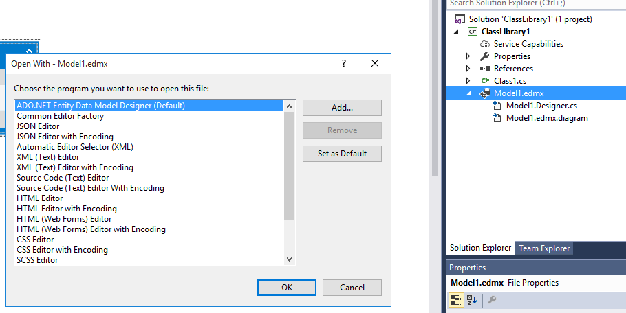 Vs 2017 cant open entityframework entity data model file right click the edmx file choose open with choose ado entity data model designer ccuart Images