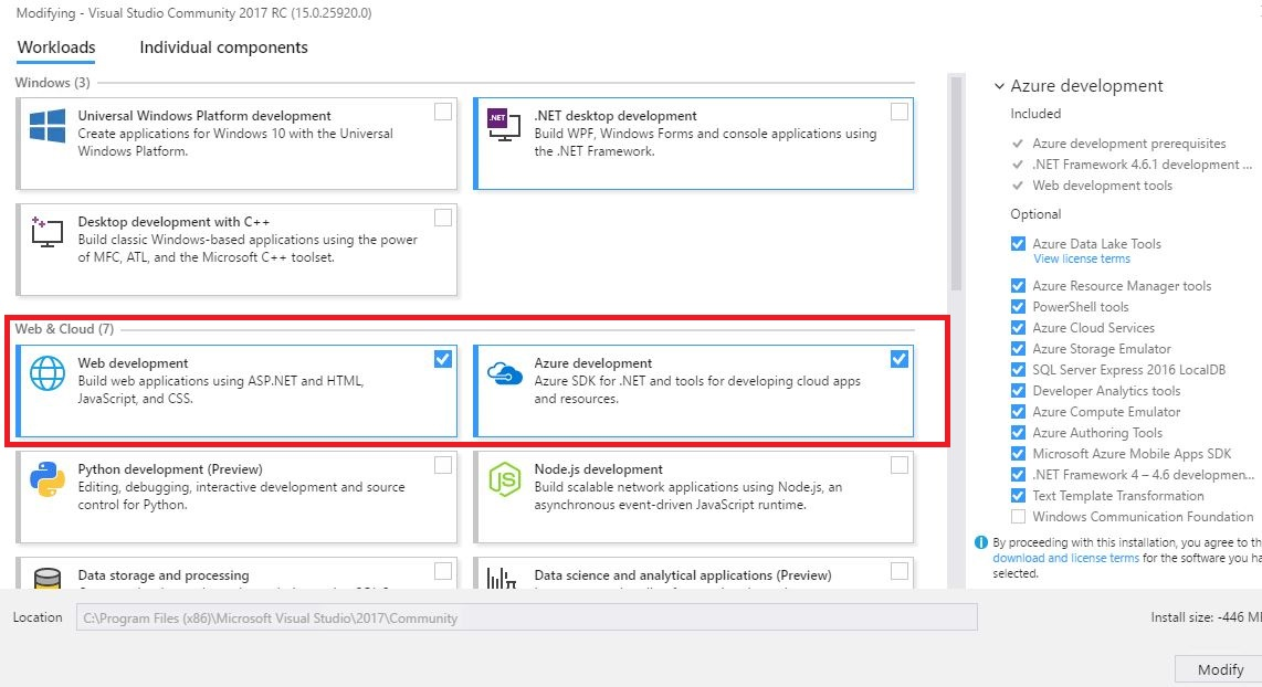 VS 2017 offline installer, download only what you need