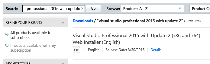 VS 2015 Professional Version 14 0 25123 00 Update 2