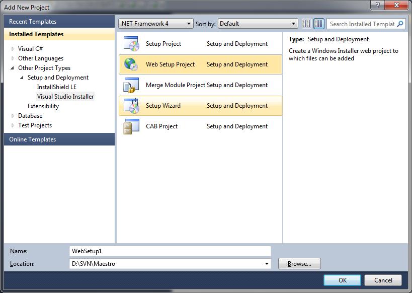 Visual Studio Installer - Creating Web Setup Project