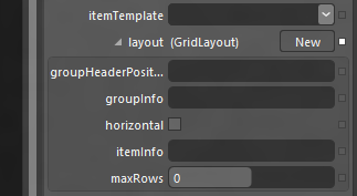GridLayout configuration options for HTML ListView control as shown in Expression Blend 5