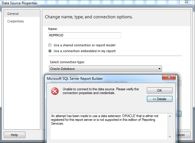 connecting to an oracle DB in ssrs