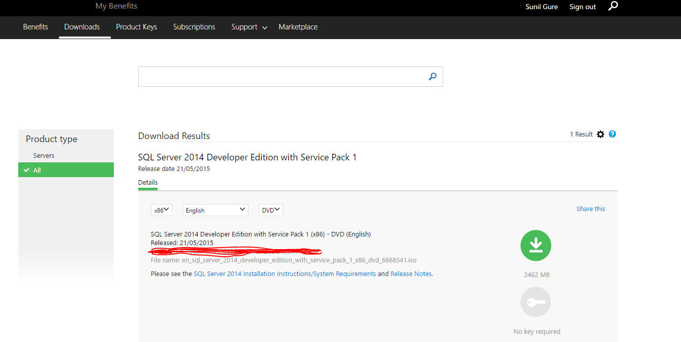 Where to download SQL Server 2014 Developer edition?