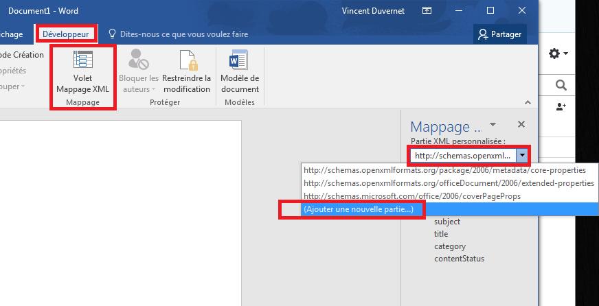 XML mapping pane
