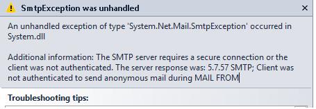 SMTP Exception