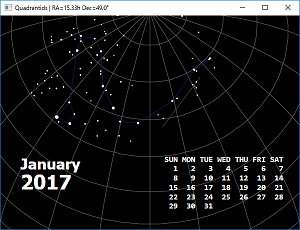 Screen shot of a program Quadrantids 0.1