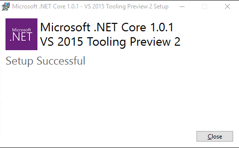 Net Core 1 0 1 VS 2015 Tooling Preview 2 - Installation