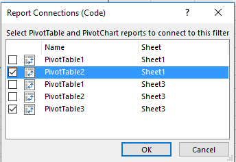 How to connect slicers from multiple pivot tables different data