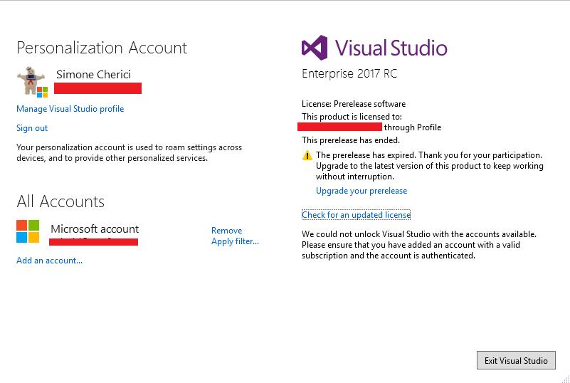 Visual Studio 2017 RC: License Expired