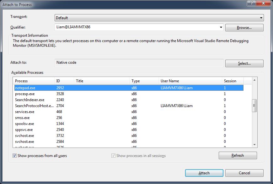 Visual Studio Attach To Process Dialog