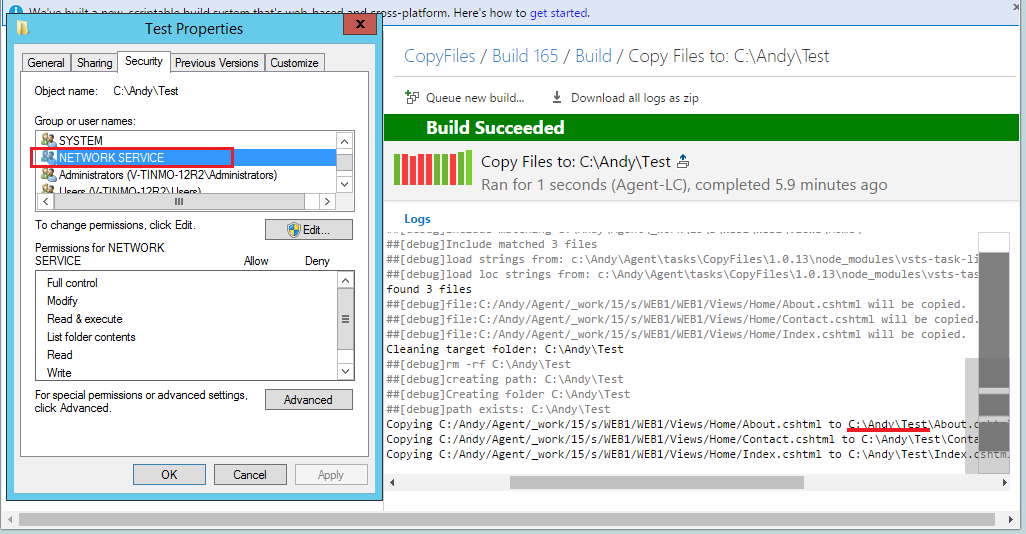 vNext build - Getting error EPERM: operation not permitted, mkdir