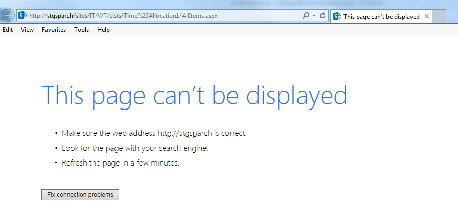 Intermittent error - This page can\u0027t be displayed in SharePoint 2013