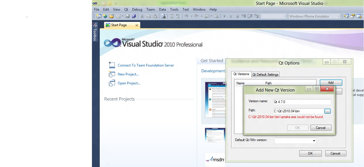 Cannot use the Qt add-in for Visual Studio 10