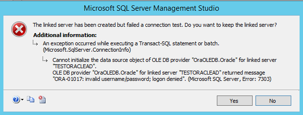 Oracle Linked Server with AD Account