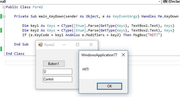 Event Keydown key combination in variable
