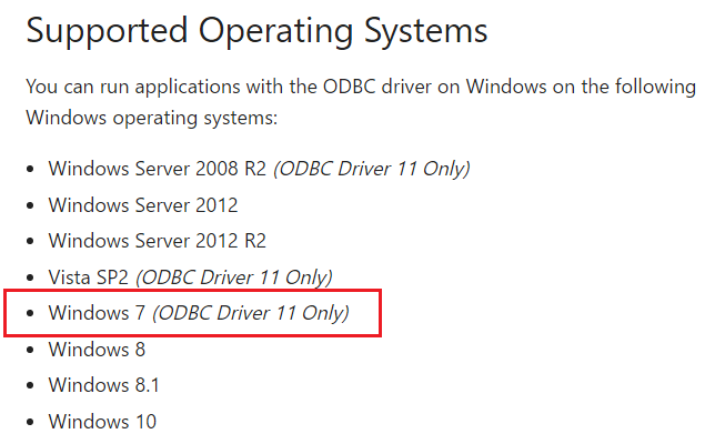 Windows 7 ODBC Driver 11 only