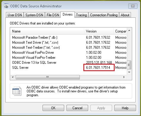 ODBC for Windows 7