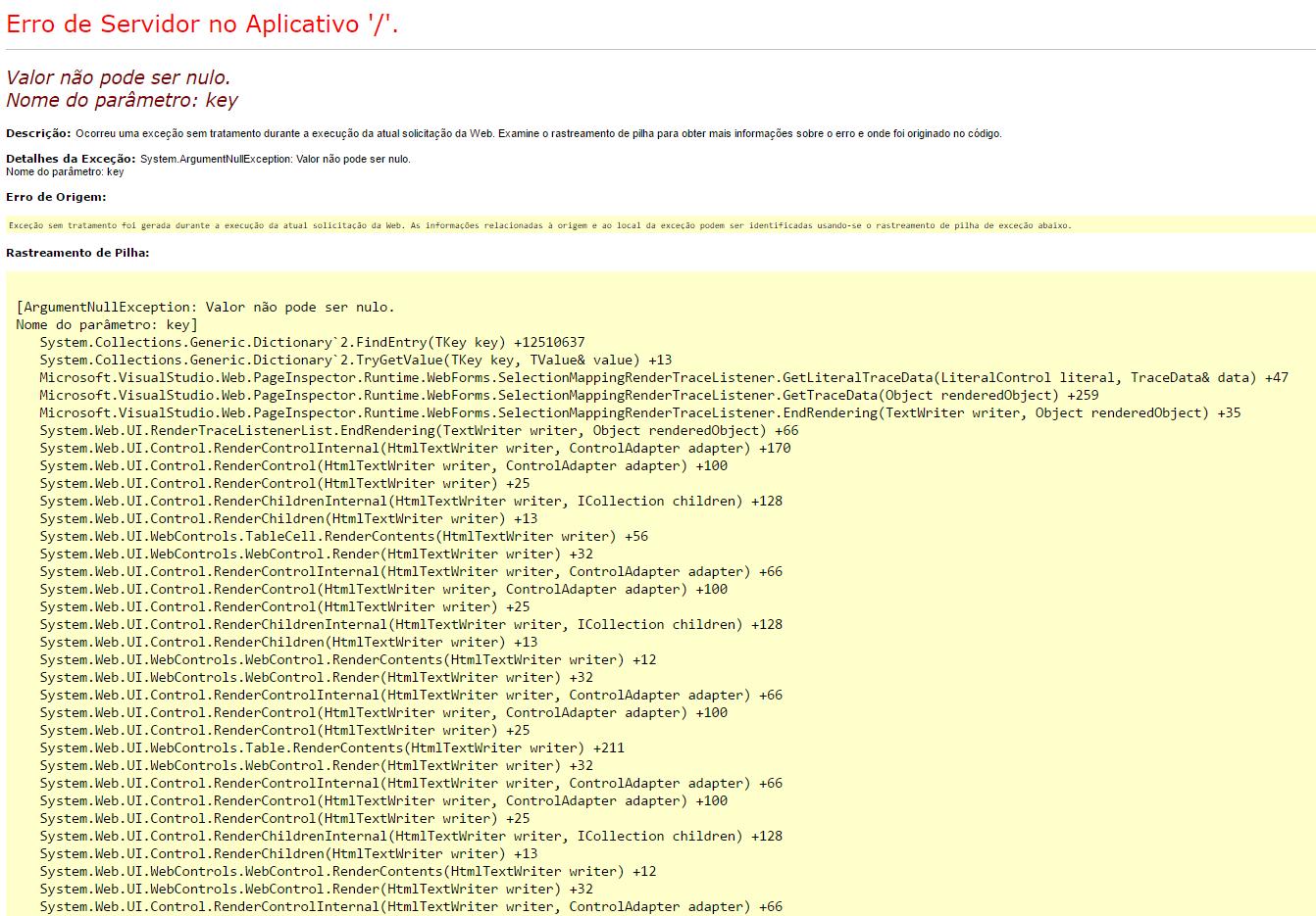 Erro de servidor no Aplicativo
