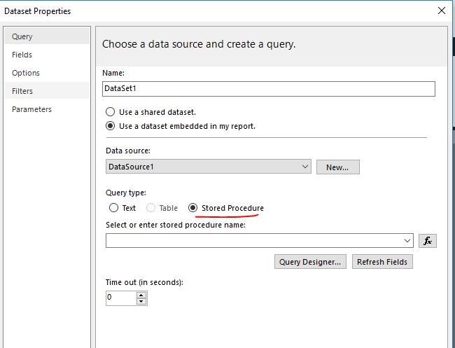 Report builder 2016, cannot create Dataset using Oracle Procedure